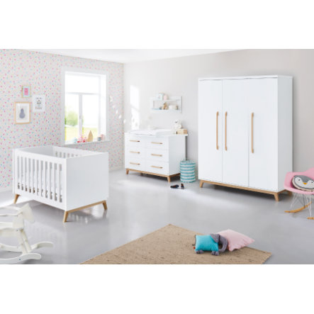 Pinolino Ensemble lit bébé commode à langer armoire 3 portes Riva blanc