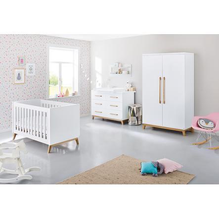 Pinolino Ensemble lit bébé commode à langer armoire 2 portes Riva blanc