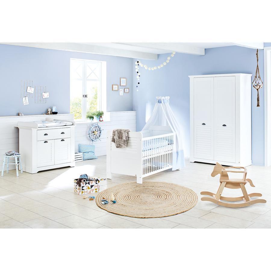Pinolino Ensemble lit bébé commode à langer armoire 2 portes Siena blanc