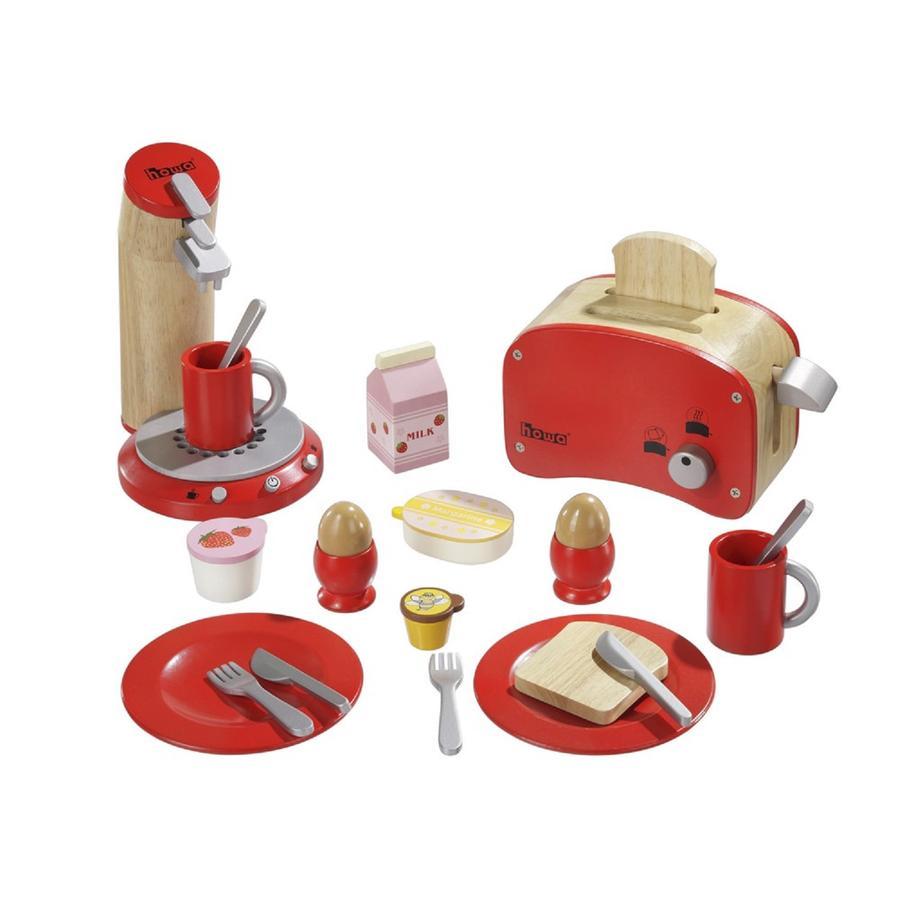 howa set da colazione in legno rosso