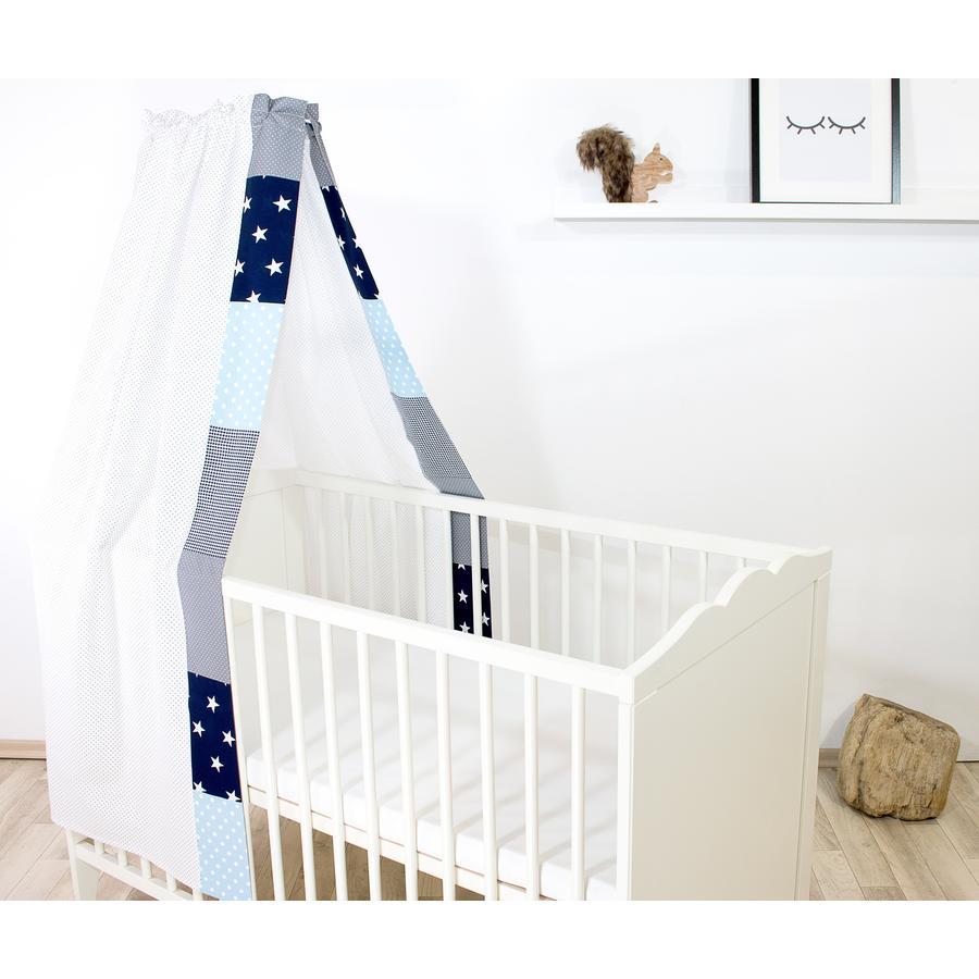 Ullenboom Cama de bebé con dosel y Bal dach in 135x200 cm Azul Azul Azul claro Gris