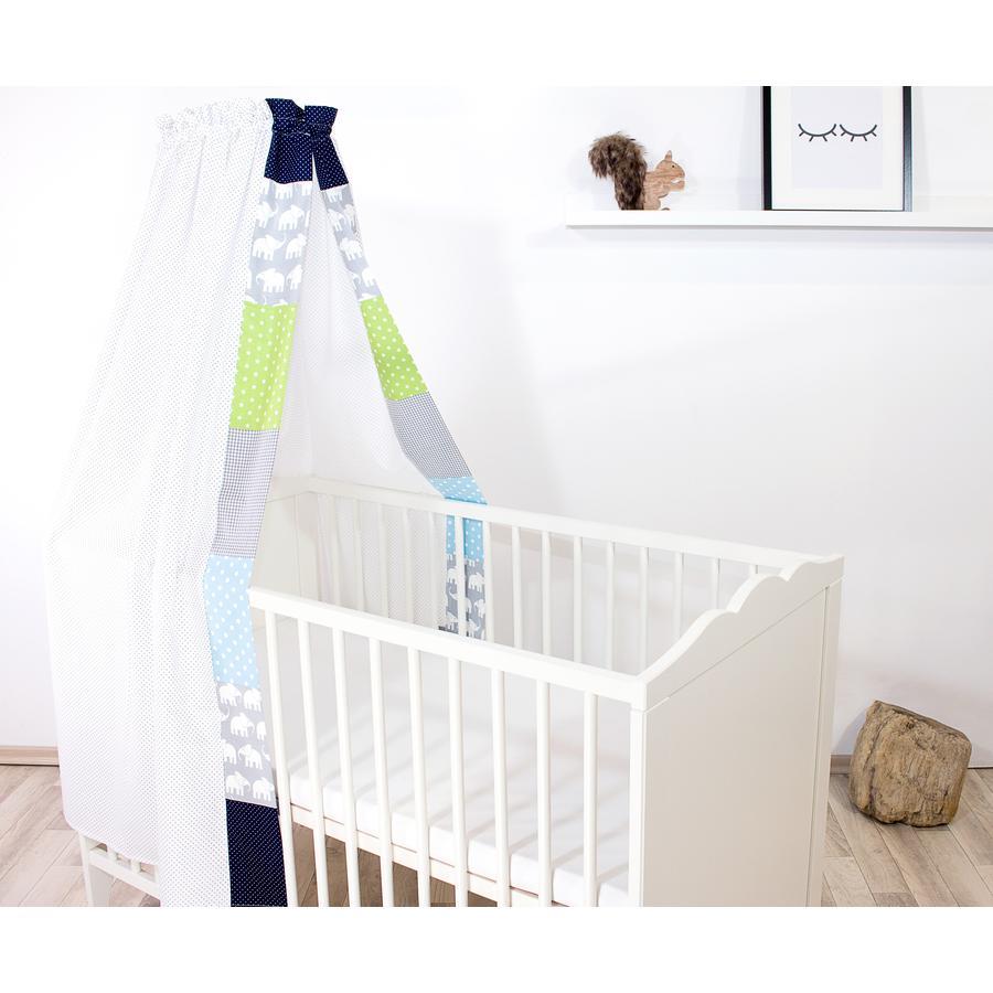 Ullenboom Cama de bebé con dosel y Bal dach in 135x200 cm Elefante Azul Verde