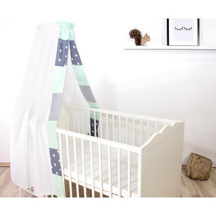 Ullenboom Cama de bebé con dosel y Bal dach in 135x200 cm Mint gris
