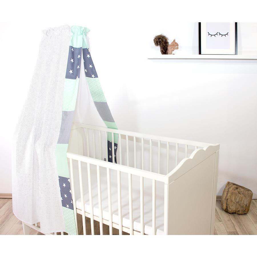 Ullenboom Lettino bebè a baldacchino & Bal dach in 135x200 cm Mint grigio