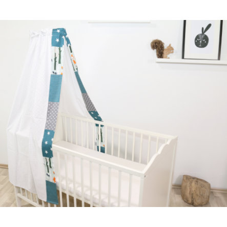 Ullenbloom Baby Himmelseng & Baldakin 135x200 cm Skogsdyr Petrol