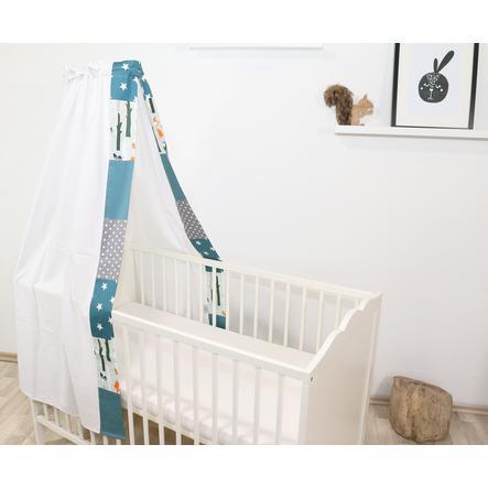 Ullenboom Cama de bebé con dosel y Bal dach in 135x200 cm Animales forestales Petrol