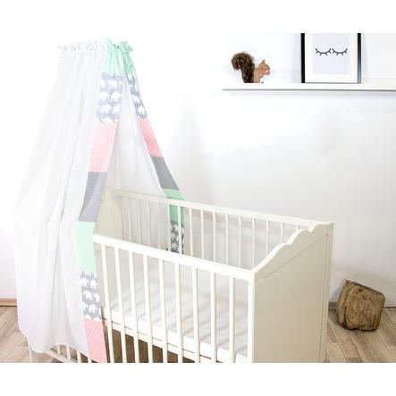 Ullenboom Ciel de lit enfant baldaquin 135x200 cm éléphant menthe/rose