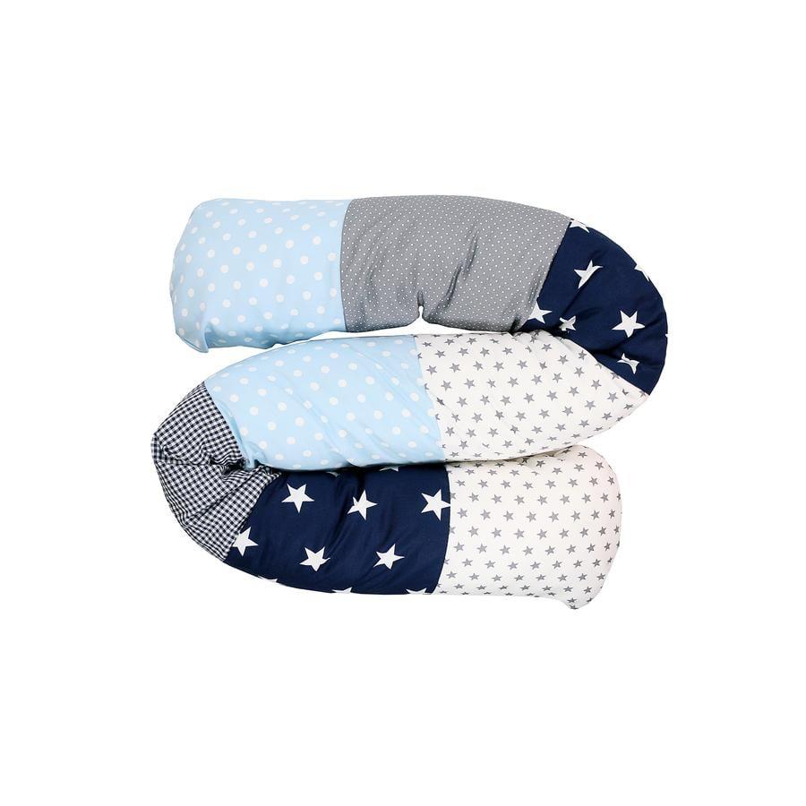 Ullenboom Baby - dlouhý polštář modrá/světle modrá/šedá 160 cm
