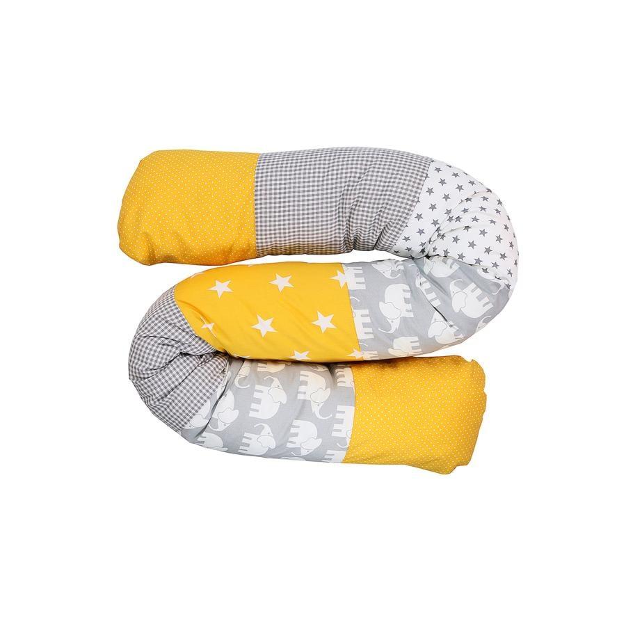 Ullenboom Tour de lit traversin enfant éléphant jaune 160 cm