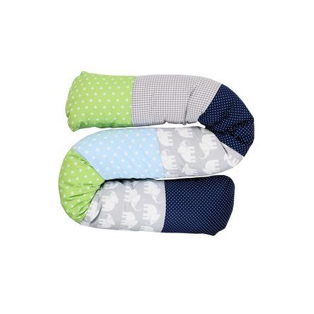 Ullenboom Baby - dlouhý polštář slon, modrá/zelená 160 cm