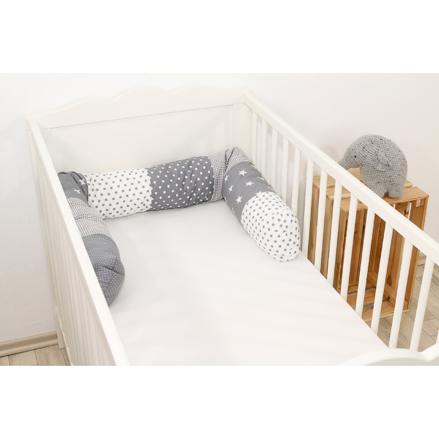 Ullenboom Tour de lit traversin enfant étoiles grises 160 cm