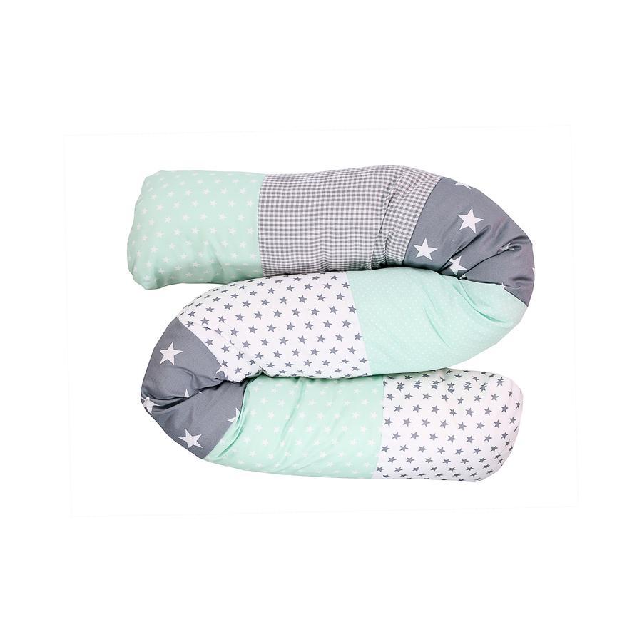 Ullenboom Baby - dlouhý polštář mentolová/šedá 160 cm