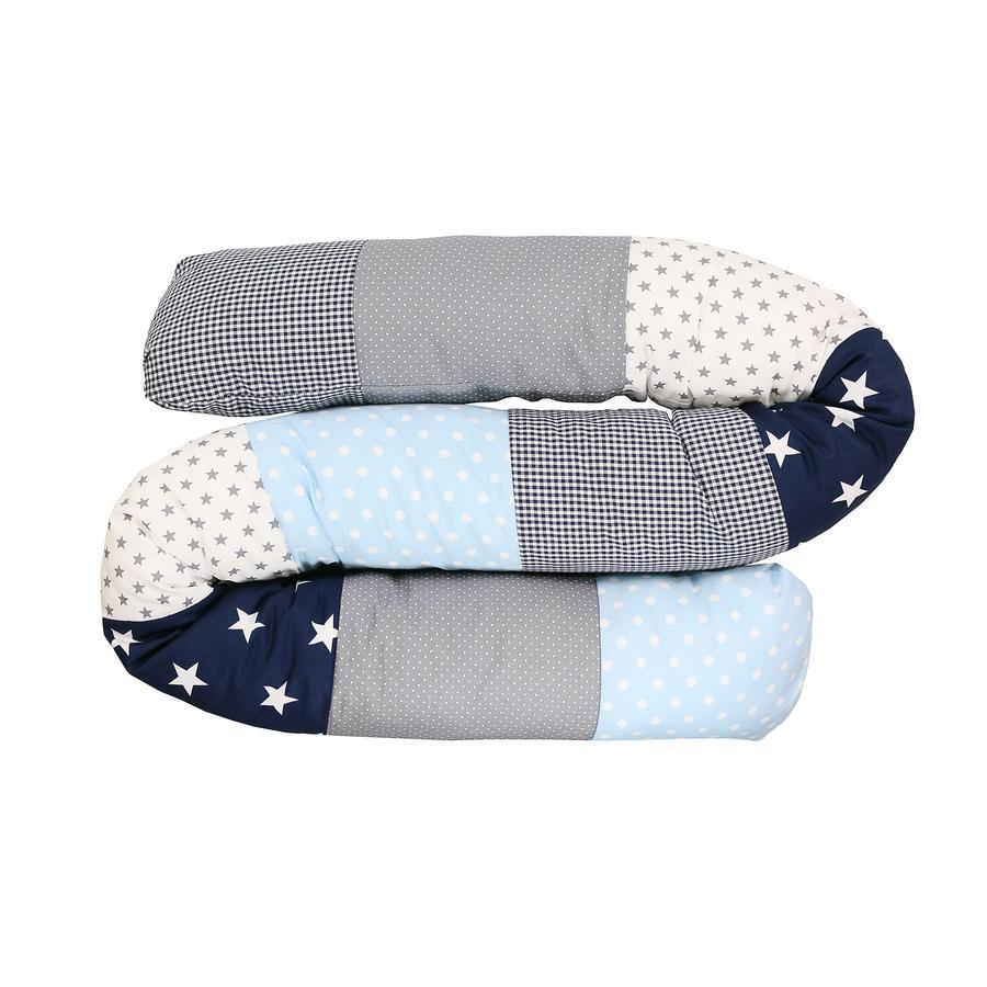 Ullenboom Tour de lit traversin enfant bleu/bleu clair/gris 200 cm