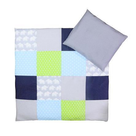 Povlečení Dětská postel Ullenboom Sloní modrá zelená 80 x 80 cm + 35 x 40 cm