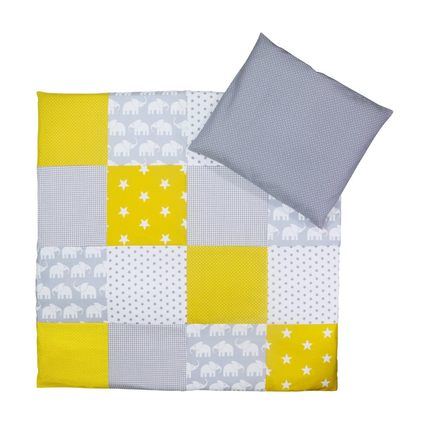 Povlečení dětská postýlka Ullenboom Elephant Yellow 80 x 80 cm + 35 x 40 cm