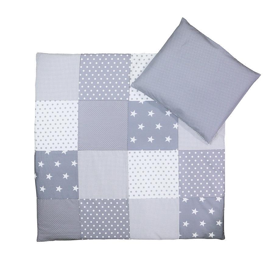 Ullenboom Parure de lit enfant étoiles gris 80x80/35x40 cm
