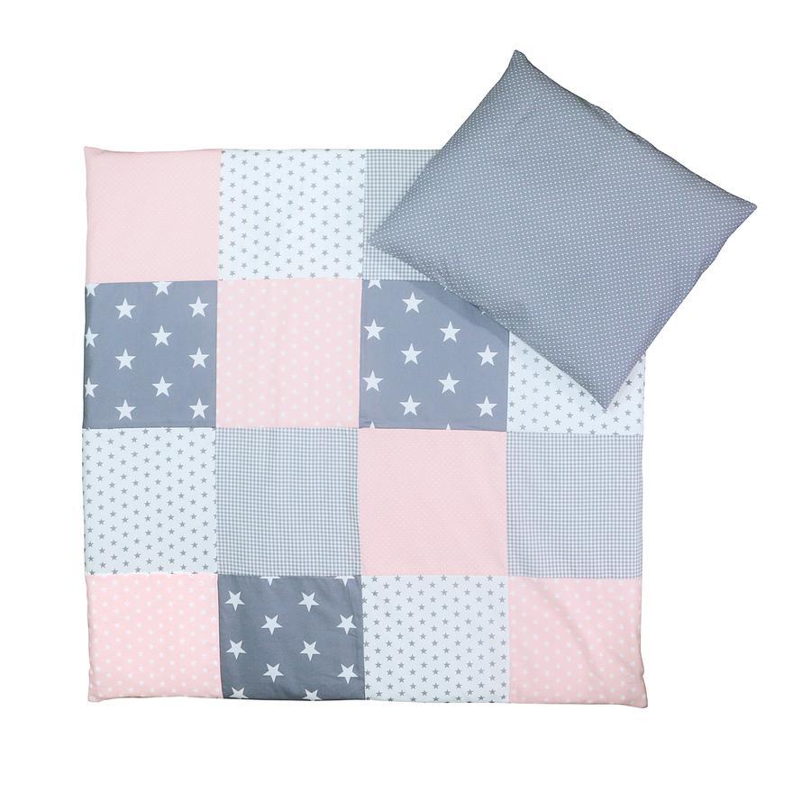 Ullenboom Påslakanset rosa/grå 80 x 80 cm + 35 x 40 cm