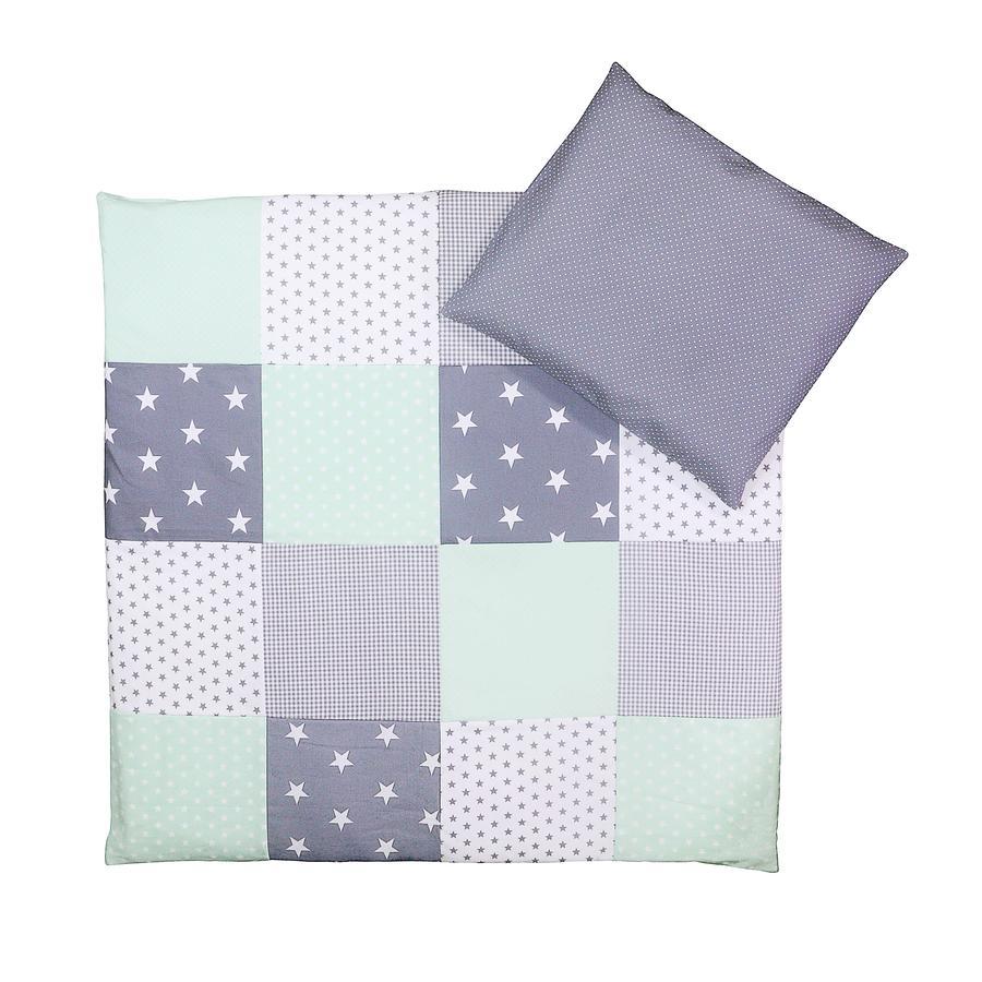 Ullenboom Baby Bettwäsche-Set Mint Grau 80 x 80 cm + 35 x 40 cm