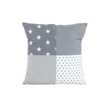Ullenboom Taie d'oreiller enfant patchwork étoiles grises 40x40 cm