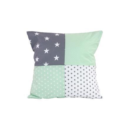 ULLENBOOM /® Housse de Coussin Patchwork 40x60 cm Gris Mint Taie d/'oreiller d/écoratif en coton, rectangulaire, Motifs /étoiles, vichy /& pois