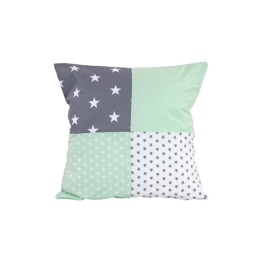 Ullenboom Taie d'oreiller enfant patchwork menthe gris 40x40 cm