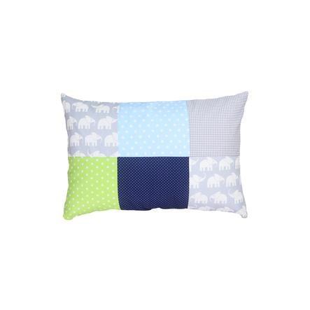Ullenboom Taie d'oreiller enfant patchwork éléphant bleu vert 40x60 cm