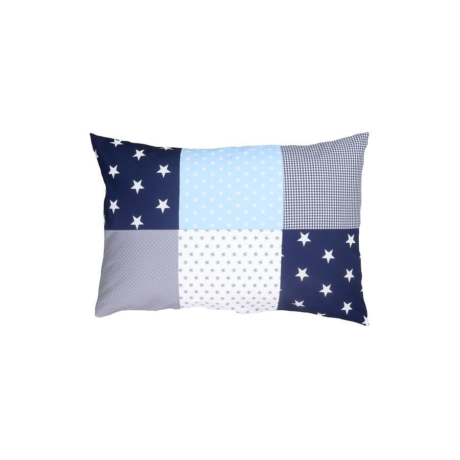 Ullenboom Taie d'oreiller enfant patchwork bleu bleu clair gris 40x60 cm