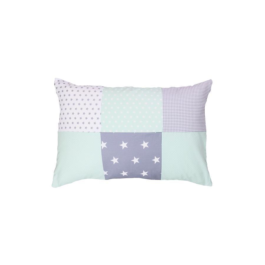 Ullenboom Taie d'oreiller enfant patchwork menthe gris 40x60 cm
