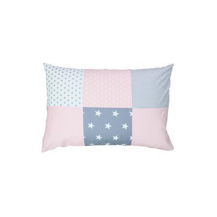 Ullenboom Taie d'oreiller enfant patchwork rose gris 40x60 cm