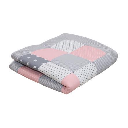 Ullenboom Couverture d'éveil patchwork rose/gris 120x120 cm