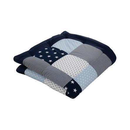 Ullenboom Couverture d'éveil matelas de parc bleu clair/gris 120x120 cm