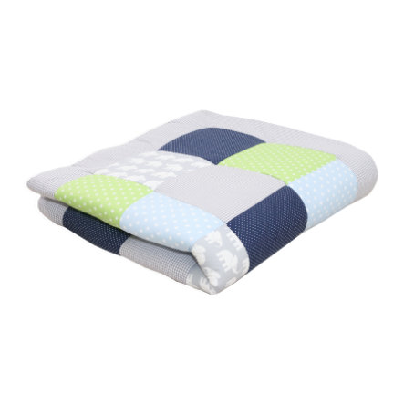 Ullenboom deka a vložka do ohrádky 120 x 120 cm slon, modrá, zelená