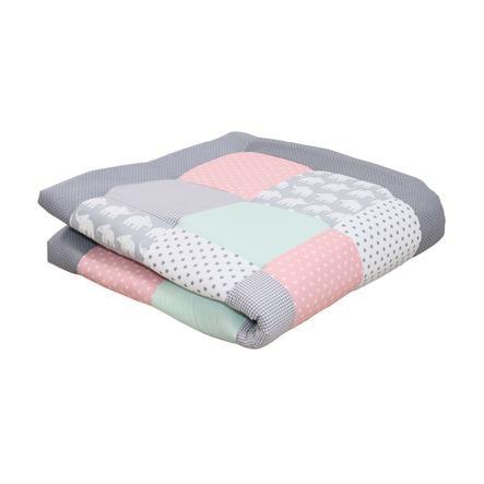 Ullenboom deka a vložka do ohrádky 120 x 120 cm slon, mentolová, růžová