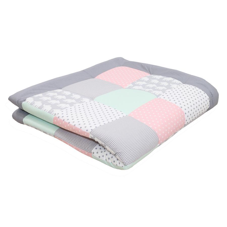 Ullenboom Coperta strisciante & playpen inlay 140X140 cm Elefante Mint Rosa