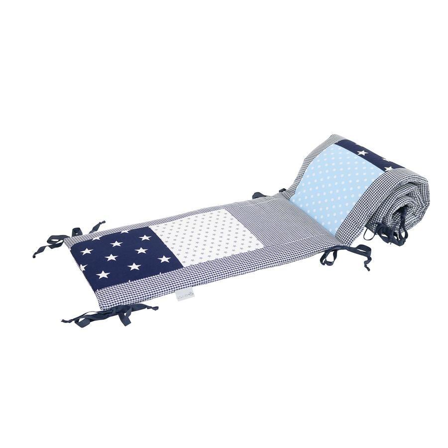 Ullenboom Patchwork-Nestchen für Babybett 120x60 cm Blau Hellblau Grau (180 cm Kopfbereich)