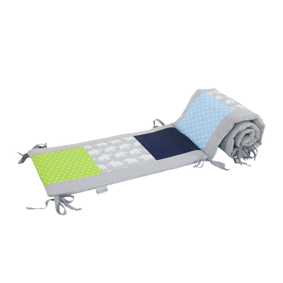 Ullenboom Patchwork-Ochraniacz do łóżeczka 120x60 cm Elephant Blue Green (180 cm zagłówek)