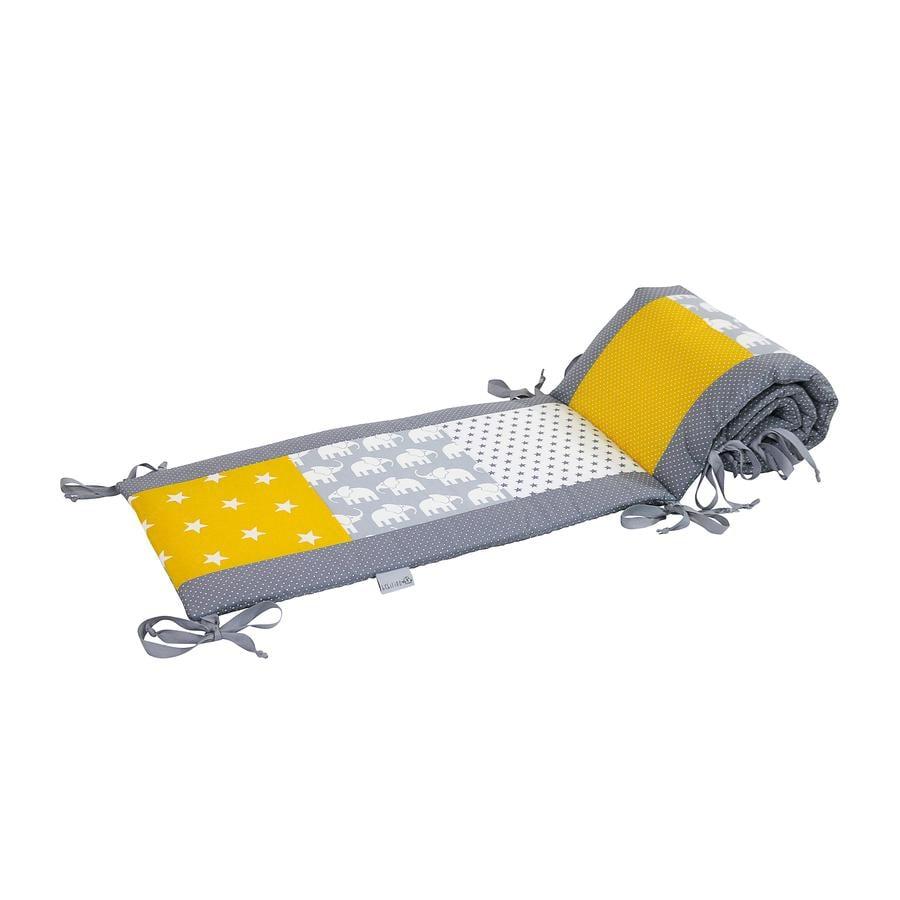 Ullenboom Tour de lit enfant à barreaux 120x60 cm patchwork éléphant jaune 180 cm