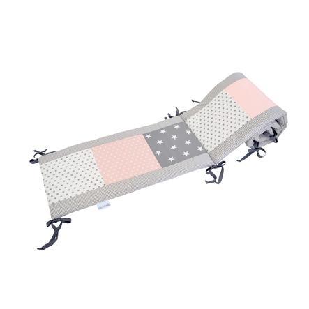 Ullenboom Tour de lit enfant à barreaux 120x60 cm patchwork rose gris 180 cm