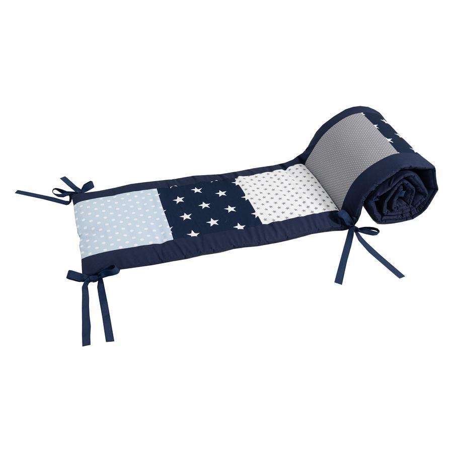 Ullenboom Tour de lit enfant 140x70 cm patchwork bleu/bleu clair/gris tour de tête 210 cm