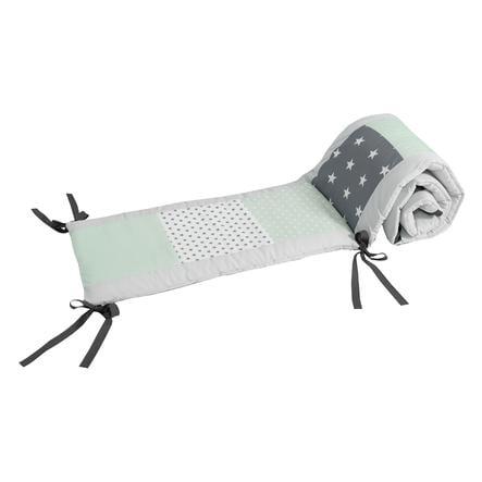 Ullenboom Patchwork-Ochraniacz do łóżeczka 140x70 cm Grey Mint (210 cm zagłówek)
