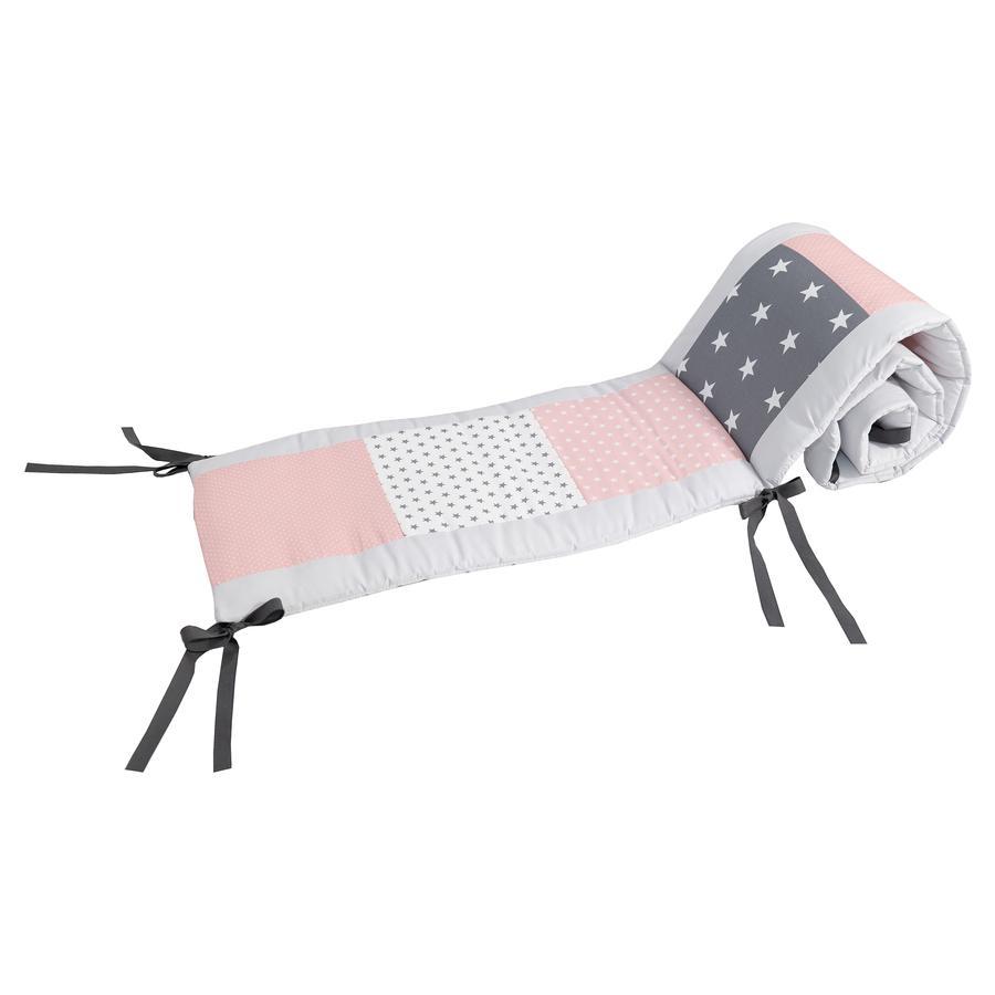 Ullenboom Reunapehmuste tilkkutäkki lastensänkyyn 140 x 70 cm vaaleanpunainen/harmaa