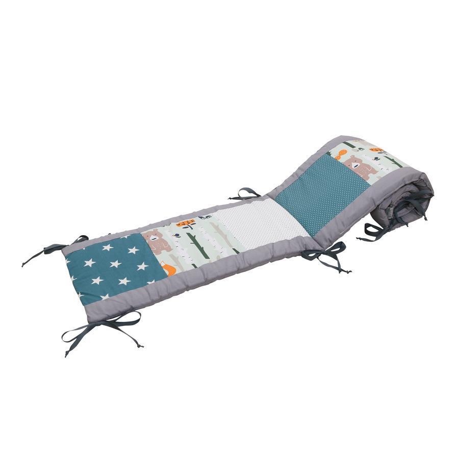 Ullenboom Patchwork-Ochraniacz do łóżeczka 140x70 cm Petrol Animals(210 cm zagłówek)