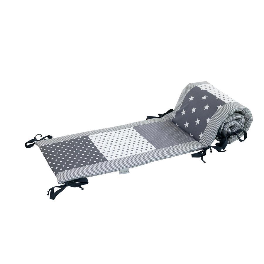Ullenboom Tour de lit enfant à barreaux 120x60 cm patchwork étoiles grises 360 cm