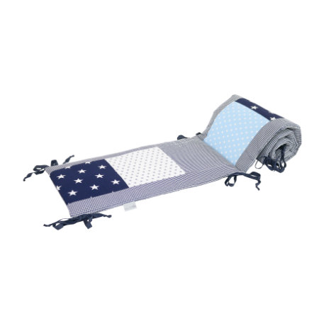 Ullenboom Tour de lit enfant à barreaux 140x70 cm patchwork bleu bleu clair gris 420 cm