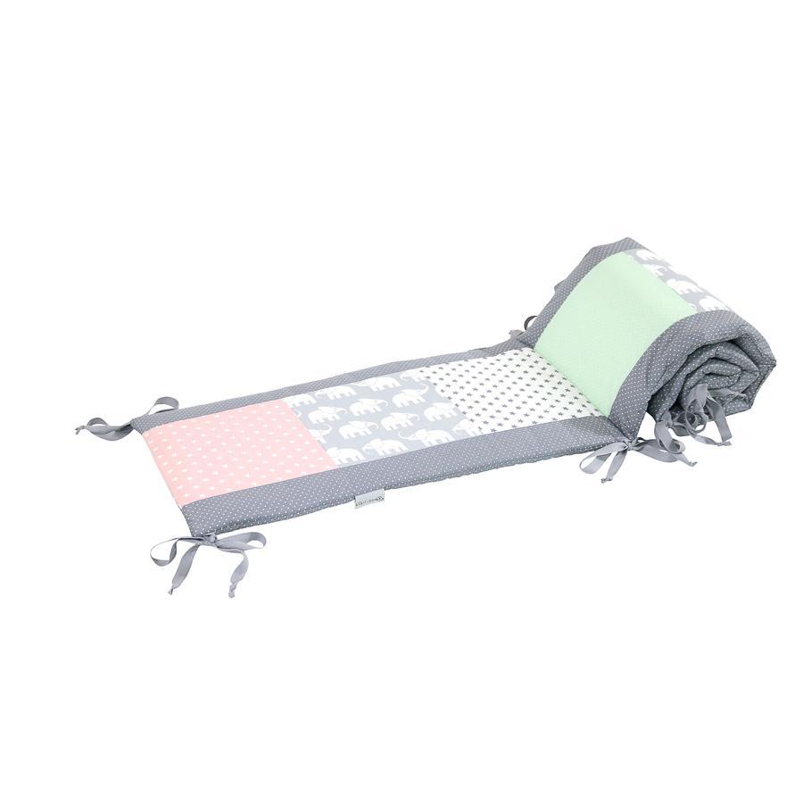 Ullenboom Lappteknik Spjälskydd till spjälsäng  120x60 cm Elefant Mint Rosa (420 cm)