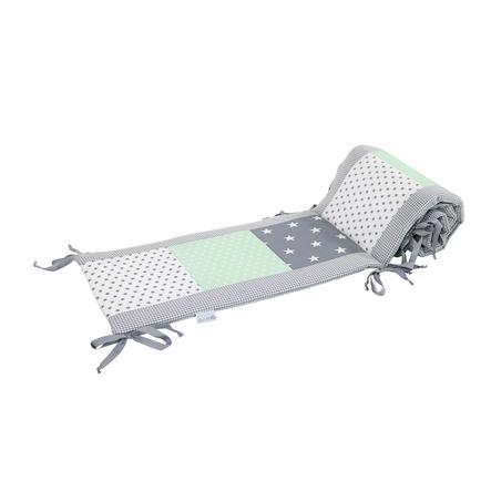 Ullenboom Patchwork-Ochraniacz do łóżeczka 140x70 cm Grey Mint (420 cm zagłówek)