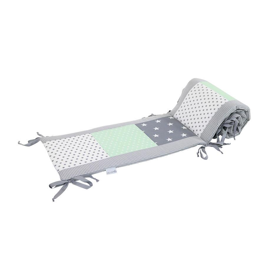 Ullenboom Tour de lit enfant à barreaux 140x70 cm patchwork menthe gris 420 cm