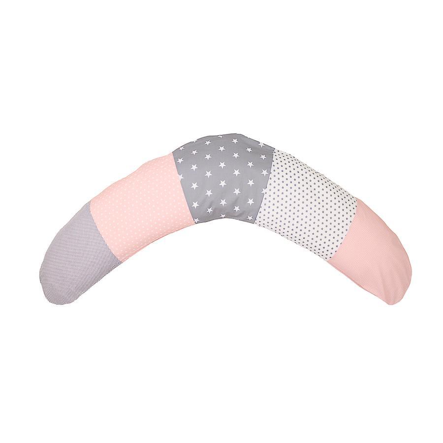 Ullenboom Patchwork Ošetřovatelský polštář růžový šedý 190 x 38 cm