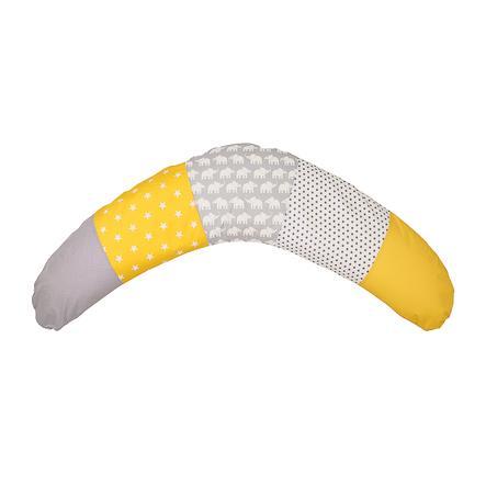Ullenboom Coussin d'allaitement patchwork coutil éléphant jaune 190x38 cm