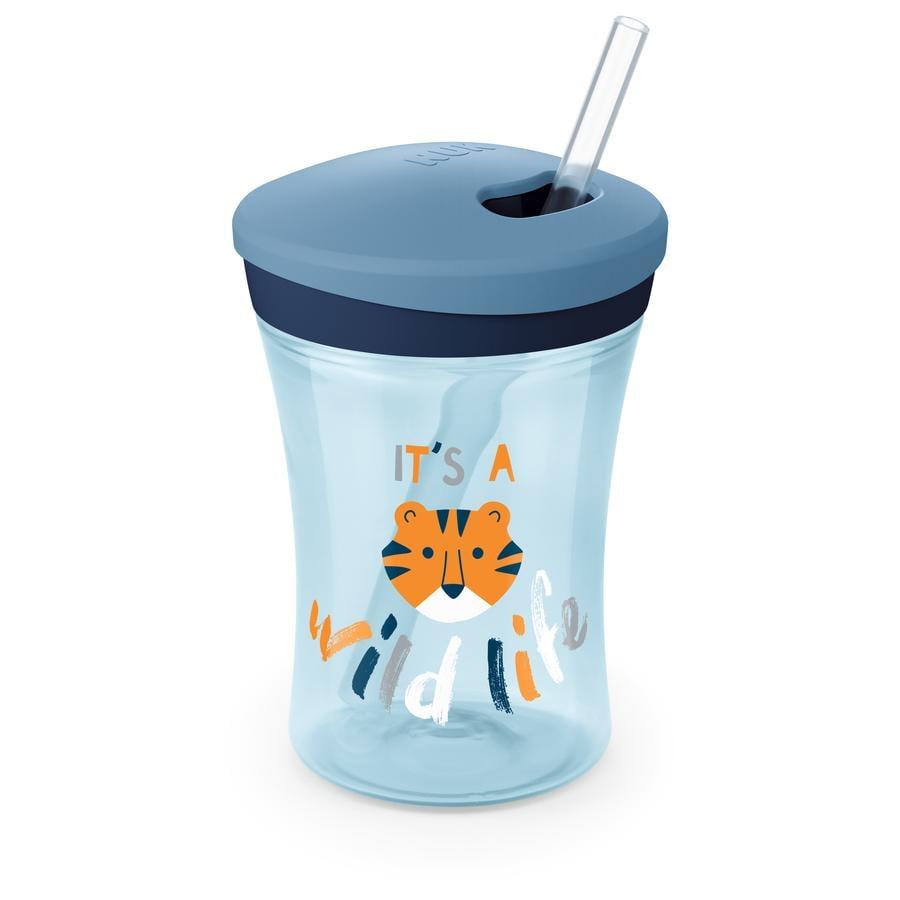 NUK Trinklernbecher Evolution Action Cup ab dem 12. Monat blau Design: Tiger
